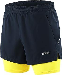 ARSUXEO Men's 2 in 1 Running Shorts Breathable Zipper Pocket B202