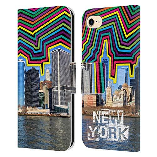 Head Case Designs Ufficiale Grace Illustration Skyline New York Cover in Pelle a Portafoglio Compatibile con Apple iPhone 7 / iPhone 8 / iPhone SE 2020
