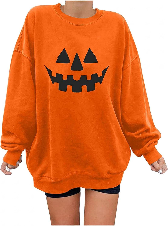 Womens Halloween Shirts Long Sleeve, Womens Long Sleeve Skeleton Pumpkin Print Oversized Shirts Funny Pullover Tops