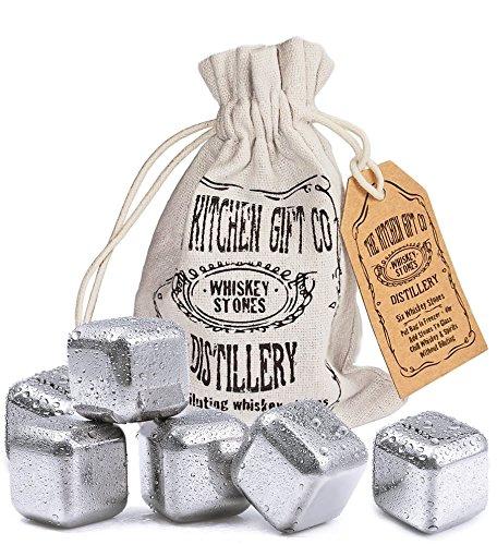 Edelstahl Whiskey Stein Eiswürfel, Set Von 6in Aufbewahrungstasche–wiederverwendbar Getränke Steinen, Metall, Ice Kühlung Rocks
