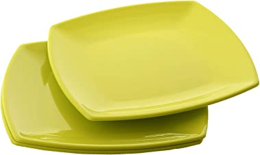 Kuber Industries Plastic Dinner Plates - 3 Pieces, Green