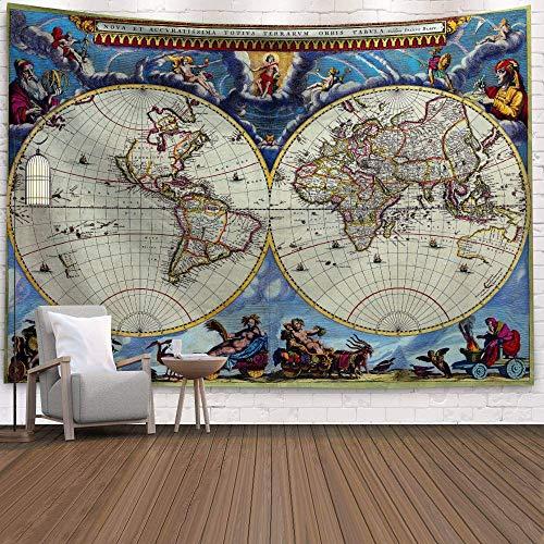 WERT Mapa del Mundo 3D geométrico Tapiz Colgante de Pared Toalla de Playa decoración del hogar Tapiz de Tela de Fondo A14 150x200cm