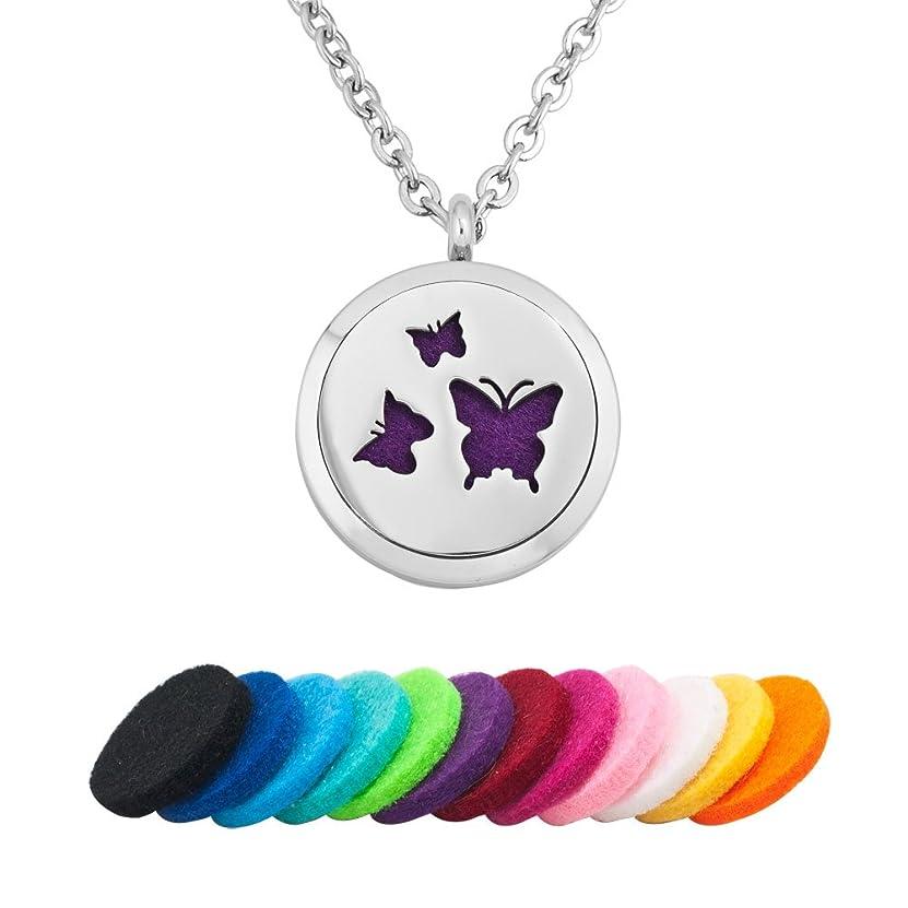 意気揚々アクティビティ明るいdemijewelry Aromatherapy Essential Oil Diffuserネックレスロケットペンダント、12?Refill Pads