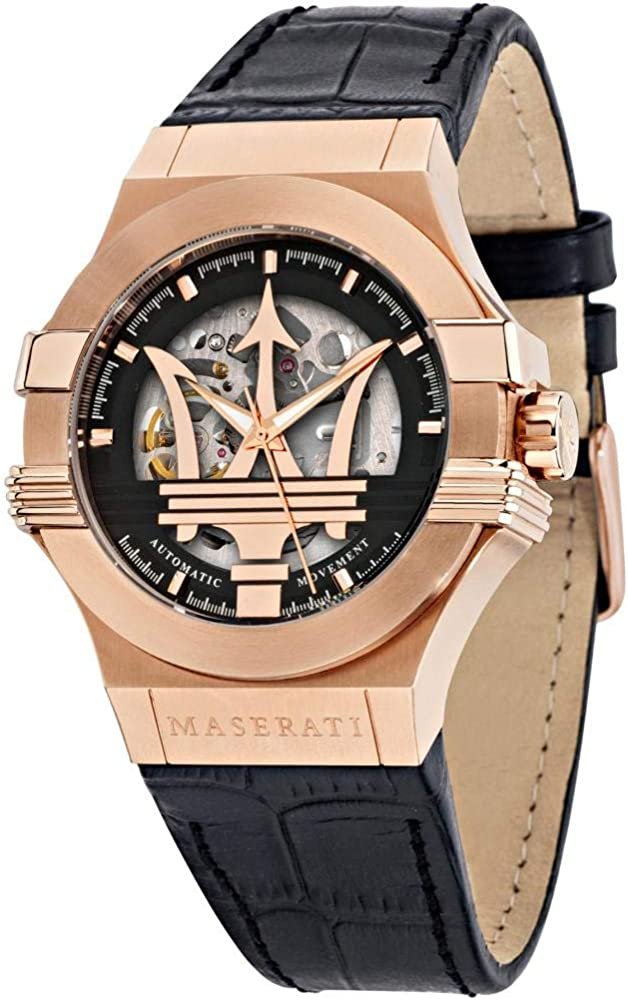 Maserati orologio da uomo, collezione potenza, in acciaio, pvd oro rosa, pelle naturale automatico 8033288890591