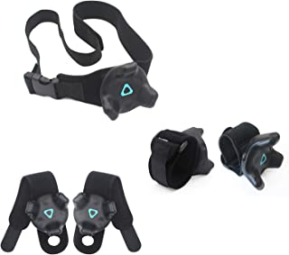 AMVR VR Tracker Straps,Adjustable Waist Belt and Wrist Hand & Palm Straps Full Body Tracking VR Bundle for HTC Vive System Trackers Motion Capture (1 Tracker Belt + 2 Wristband + 2 Palm Straps )