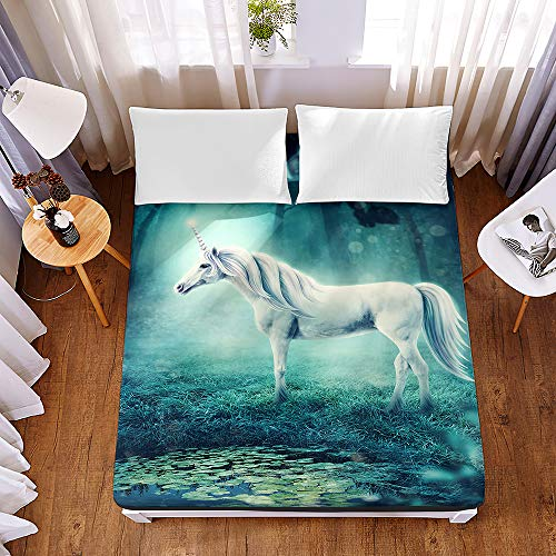 Bedding Fitted Sheets Extra Deep 30cm, Morbuy Bedding Microfiber Soft Fade Resistant Bed Sheets for Single Double King Size, Only Bedsheet No Pillowcases - 3D Fantasy Unicorn Elf (150 * 200 * 30cm,F)