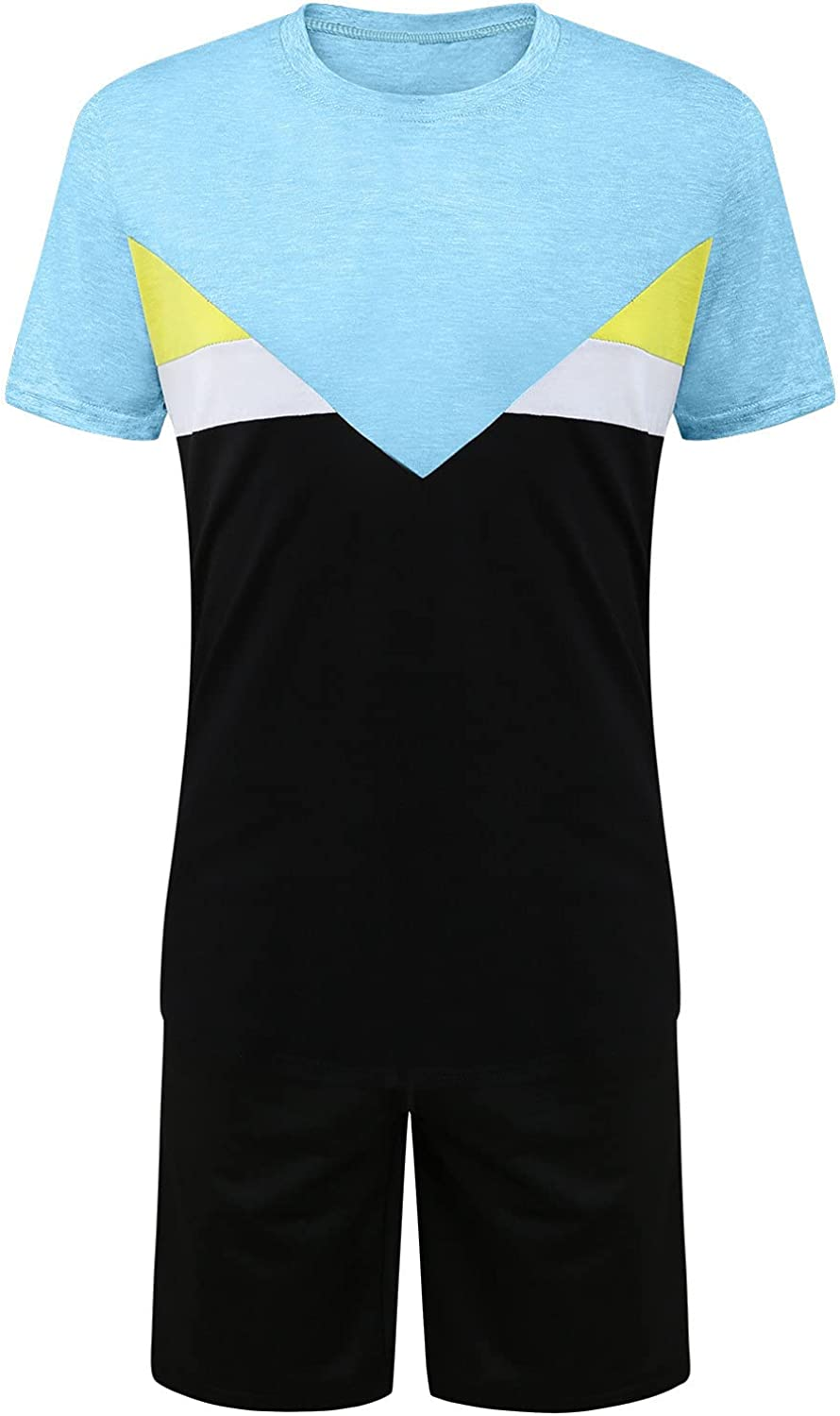 DZQUY Mens Summer Sport 2 Piece Short Outfits Short Sleeve Hipster Muscle T-Shirts and Sports Shorts Set Workout Sweatsuit
