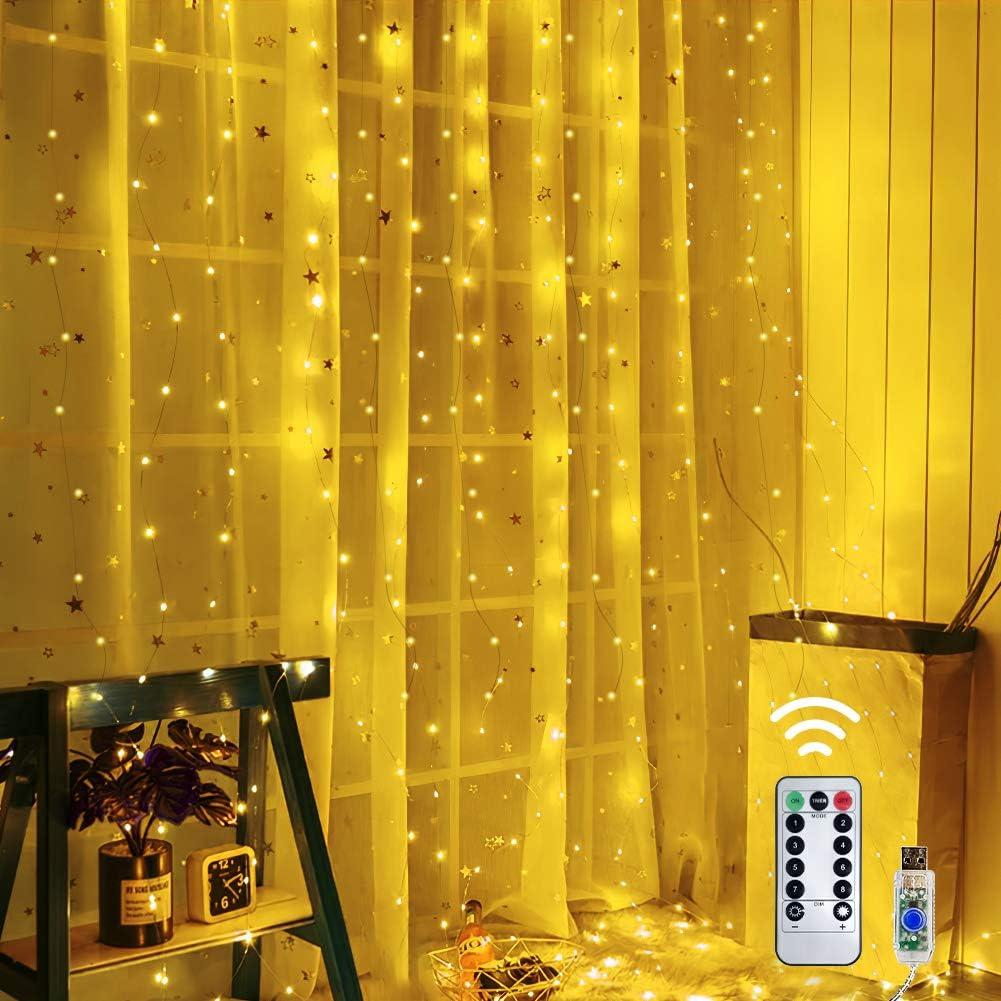Virginia Beach Max 47% OFF Mall shine4FUN Curtain Twinkle Wall String LED 300 Lights Powered USB