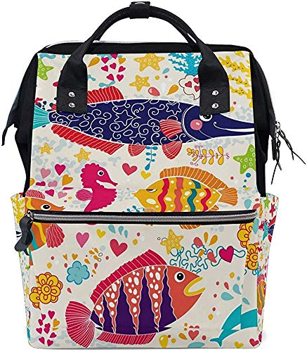 Bag Sea World Fishes Print Nappy Bag Backpack Baby Mummy Backpack Care Imperméable Plus Grande Capacité Papa Élégant Mom Mummy Bag Diaper Tote Bags Muti-Function Travel