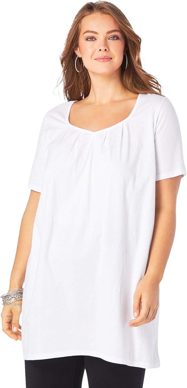 Roaman's Women's Plus Size Pleatneck Ultimate Tunic Long Shirt