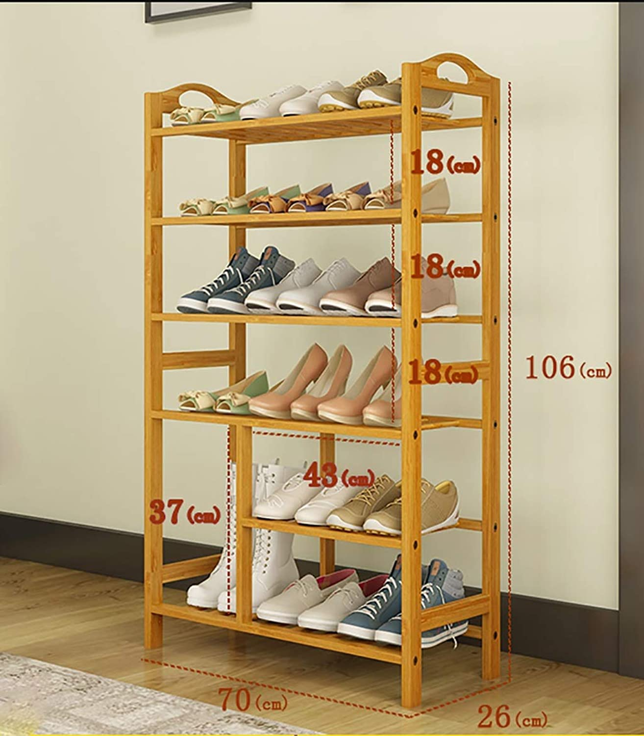 shoes Bench Organizing Rack Natural Bamboo shoes Rack six-Layer Unit Shelf Simple Boots Storage shoes Rack (Size   70  26  106cm)