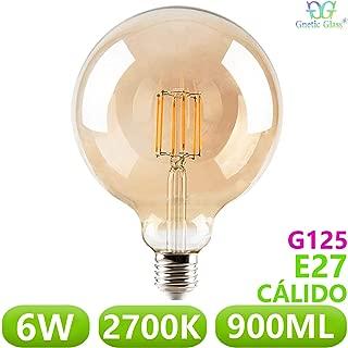 Bombilla LED Globo Filamento 6W equivalente 90W GNETIC GLASS E27 Casquillo gordo G125 125x176 900ML 2700K Luz blanca cálida 30000h Equivalente a 90W [Eficiencia energética A+]