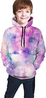 Cyloten Kid's Sweatshirt Starry Galaxy Colours Hoodie Teen's Thicken Sportswear Fleece Hood for Fall-Winter