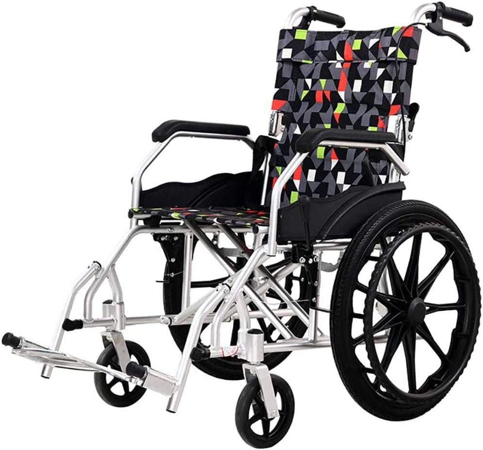 CANDYANA Silla De Ruedas Plegable Easy Ultralight para Ancianos Ultraligera De Aleación De Aluminio, Silla De Viaje para Discapacitados, Fácil De Almacenar, con Freno Doble