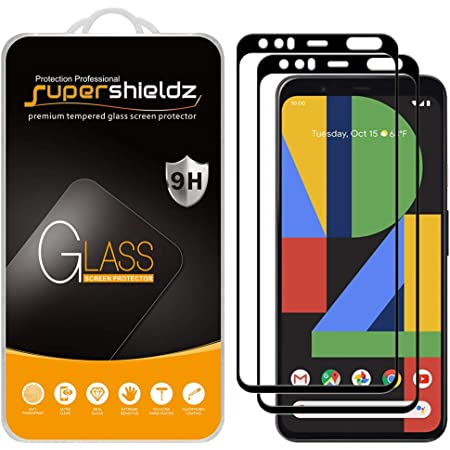 (2 Pack) Supershieldz Designed for Google (Pixel 4 XL) Screen Protector, (Full Screen Coverage) Tempered Glass, 0.33mm, Anti Scratch, Bubble Free (Black)