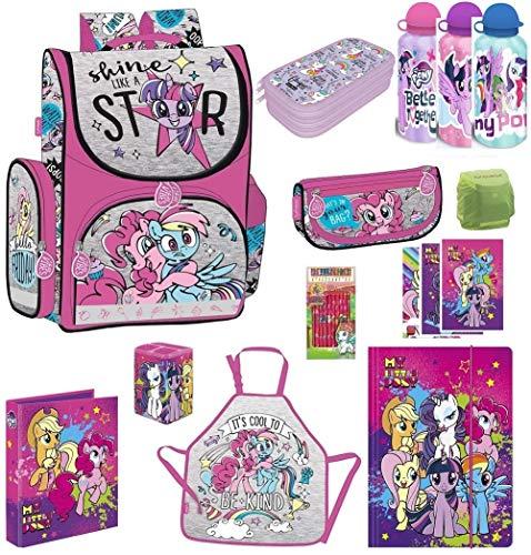 Familando My Little Pony Schulranzen-Set 12 TLG. mit Dose und Flasche Fluffy, Federmappe und Regenschutz Einhorn Regenbogen für Mädchen