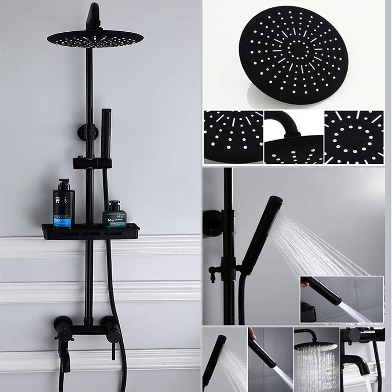 Duschsule Badezimmer Edelstahl Regenpaneel Wandmischer Set Einstellbare Handbrause mit Spritzpistole, Schwarz