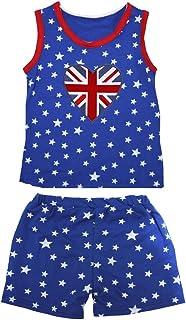 Petitebella Girls' British Heart Patriotic Stars Red Cotton Shirt Short Set