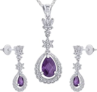 Viyari Royal Purple & White Cubic Zirconia Pear Shape Pendant Necklace Earrings Jewelry Set