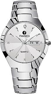 New Fashion Tungsten Steel Couple Quartz Pointer Watches Wristwatches for Lovers + Gift Box
