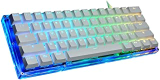 IRVING Teclado mecánico Green Axis 61 Key Glass Keyboard Light Light Comer Chicken Game Keyboard (Edición : Red Axis)