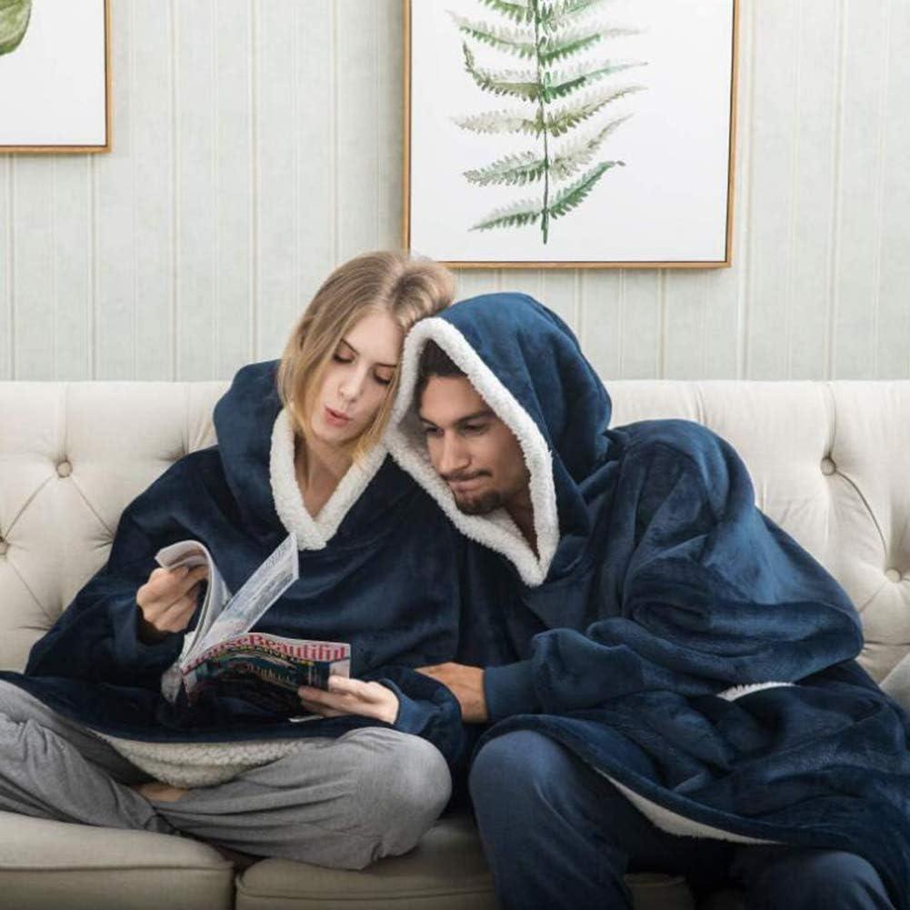 One Size Fits All Lelesta Sherpa Fluffle Sweatshirt Blanket Warm Cozy Oversized Wearable Pocket Blanket Hoodie for Adults Women Men and Teens
