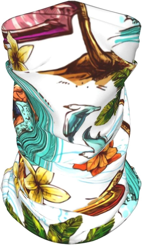 Hawaiian Palms Flowers Neck Gaiter Multipurpose Headwear Ice Silk Mask Scarf Summer Cool Breathable Outdoor Sport 4 Pcs