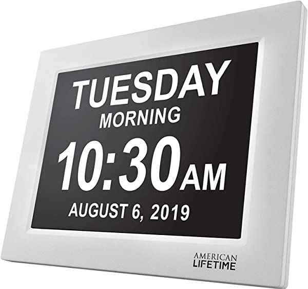 American Lifetime Newest Version Day Clock Extra Large Impaired Vision Digital Clock With Battery Backup 5 Alarm Options White