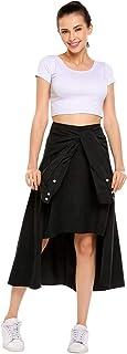 Chigant Women's High Waist High-Low Tie Waist Shirt Skirt