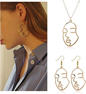 Picasso Face Earrings Face Necklace Set Gold Silver Vintage Abstract Statement Dangle Earrings for W omen Chicas