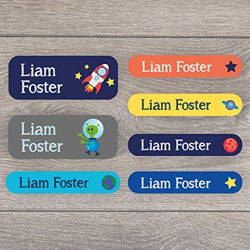 46 Name labels for children   Includes 16 stick on name labels and 30 iron on labels for clothes   Perfect for clothes, uniforms, lunchboxes, water bottles, shoes and much more (Space)