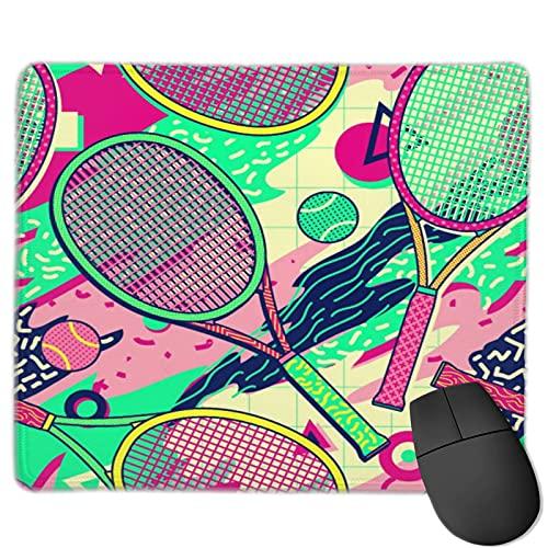 Zollamt Mauspad,Bunter Schläger Tennisball Memphis Design,Quadratisches Gaming-Mauspad, rutschfeste Gummibasis für Heim-Laptop, Reisen, personalisierter Schreibtisch, 9,5