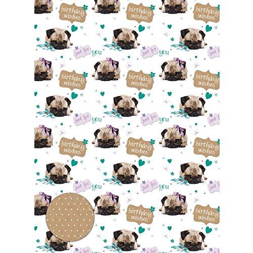 Cute Birthday Pug - Süßer Mops - Geschenkpapier mit Anhänger