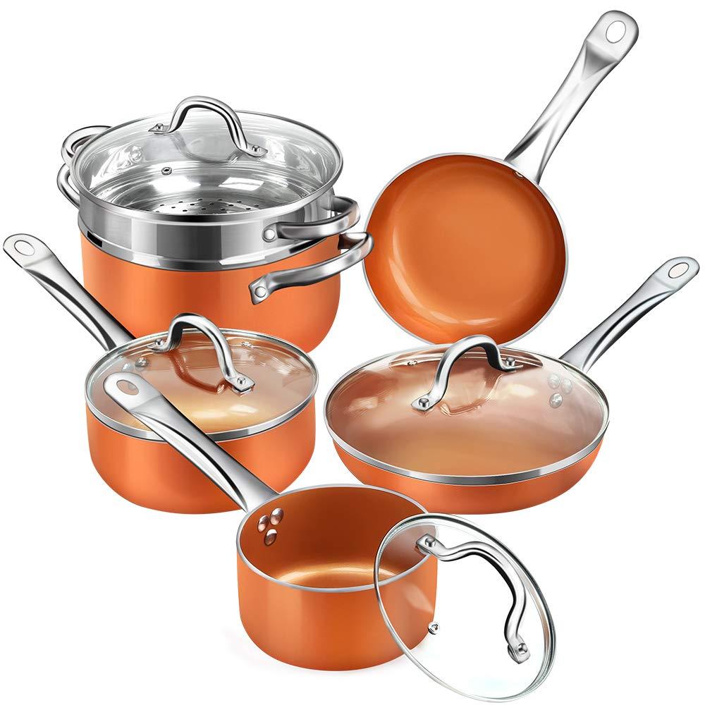 Copper Non stick 10 piece Cookware Multi purpose