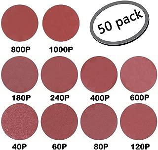 GeBot 50PCS 10-Inch NO-Hole PSA Aluminum Oxide Sanding Disc Self Stick Assorted 40/60/ 80/120/ 180/240/ 400/600/ 800/1000 Grits (10 Inch)