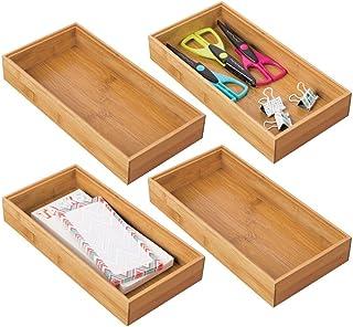 mDesign bac de rangement pour bureau et tiroirs (lot de 4) – rangement tiroir rectangulaire en bambou – organiseur de bure...