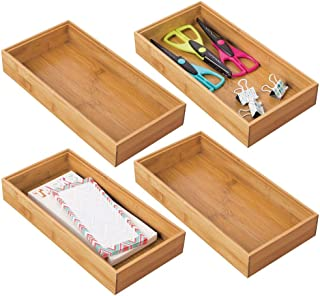 $24 » mDesign Bamboo Farmhouse Home, Office Storage Bin Tray - Desk and Drawer Organizer - for Gel Pens, Pencils, Markers, Erasers, Tape, Notepads - 4 Pack - Natural