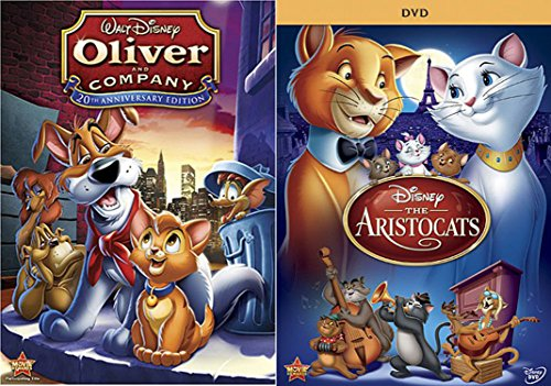 Classic Disney Animated Features DVD Bundle - Oliver and Company (20th Anniversary Edition) & The Aristocats 2-Movie Animal Collection Double Feature