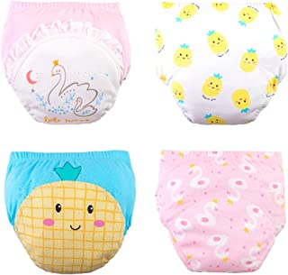 Max Shape Baby Toddler Girls 4-Pack Cotton Training Pants Potty Training Underwear for Baby Girls Waterproof