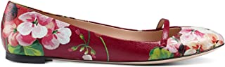 Women's Leather Blooms Floral Print 'Arielle' Ballerina Flats Shoes