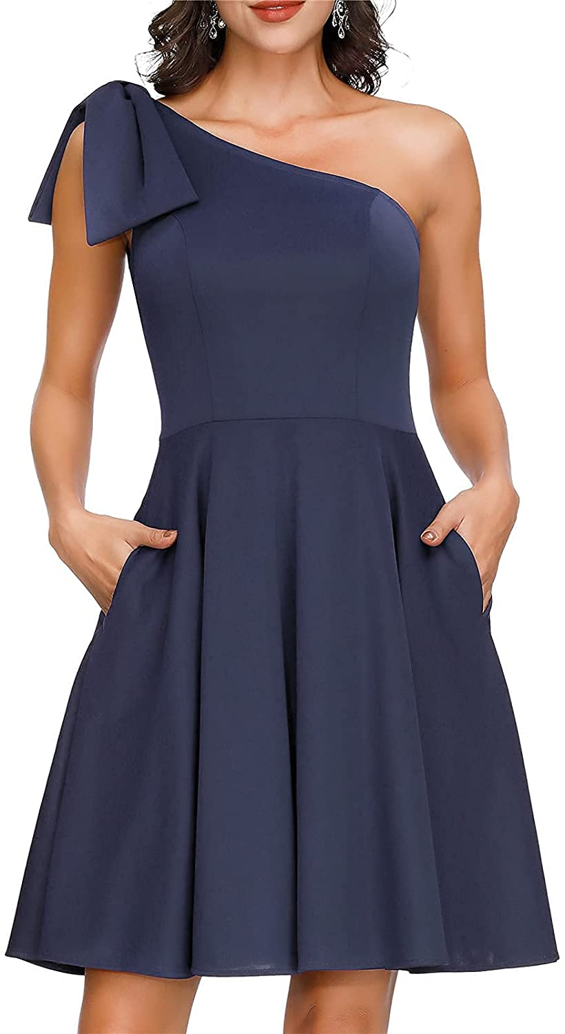JASAMBAC Women's Bow One Shoulder Dress with Pockets A-line Cocktail Party Dress