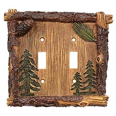 Pinecone & Tree Lodge Double Switch Plate - Lodge Decor