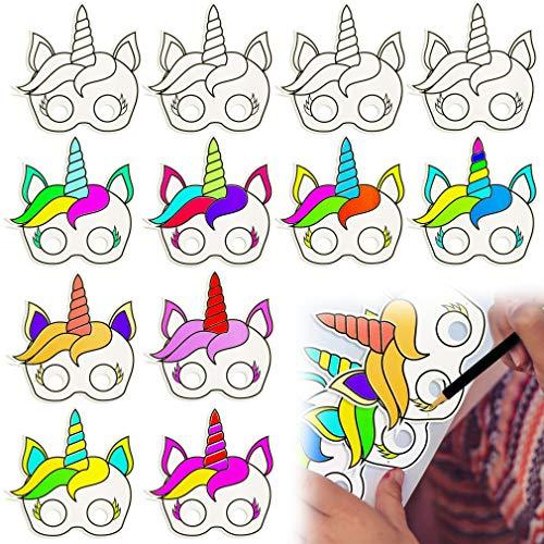 BeYumi 12 PCS DIY Einhorn Papiermasken für Kinder Geburtstag & Einhorn Party Favors