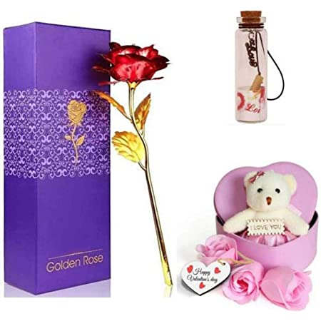 DSD Golden Rose with Pink Heart Box Teddy with Message Bottle for Couple, Gift Items