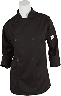 Mercer Culinary M61030BKM Genesis Women's Chef Jacket with Traditional Buttons, Medium, Black