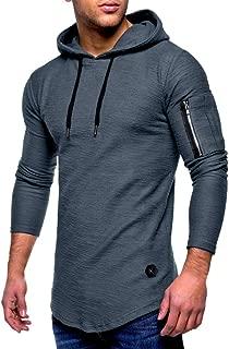 Liquidación Moda Casual para Hombres Hermoso O-Cuello con Cremallera Camiseta de Manga Larga a Rayas con Corte Slim Camiseta con Capucha sólida Blusa ¡Caliente!