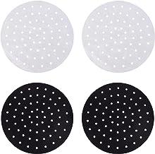 HEMOTON Tapete de silicone reutilizável 2cs para fritadeira a ar e forros redondos para fritadeira a ar (preto e branco)