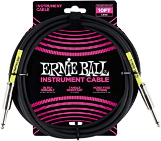 Ernie Ball P06048 3 Meters Straight/Straight Instrument Cable, Black, Black, 3 Meters