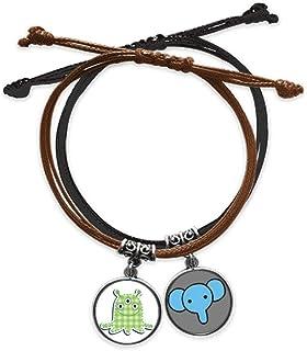 CaoGSH Universe and Alien Bracelet en cuir avec pendentif éléphant