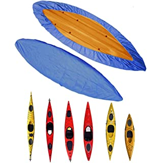 TacticalGear Kayak Cover 3.6m-4m/11.8 -13ft - Canoe Cockpit Dust Cover -Outdoor Storage Dust Cover Waterproof UV Sunblock Shield Protector for Fishing Boat/Kayak/Canoe Blue